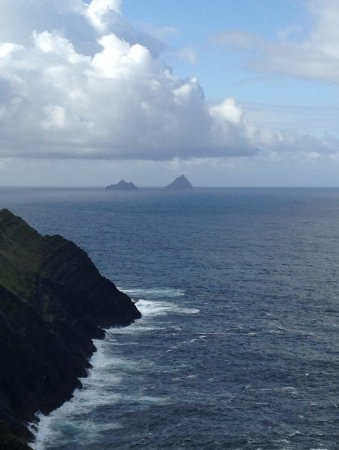 Portmagee, Ireland: Great and Little Skellig can be seen clearly from here.