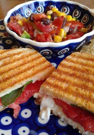 Nebraska City, NE: Caprese panini, corn and black bean salsa and chips