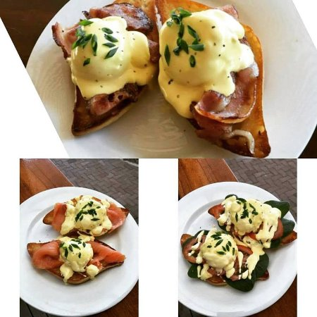 Mareeba, Australia: Eggs Benedict served 3 ways - all locally sourced eggs and produce