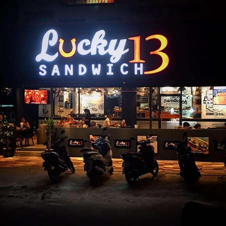 Lucky 13 Sandwich Kathu: Outside Lucky 13 night time