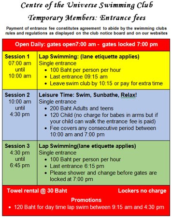 Centre of the Universe: Entrance fees for temporary members of the swim club