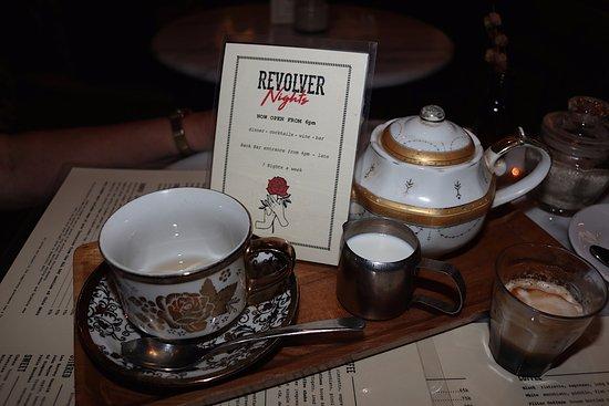 Revolver Espresso: A pot of tea and a double shot Macchiato
