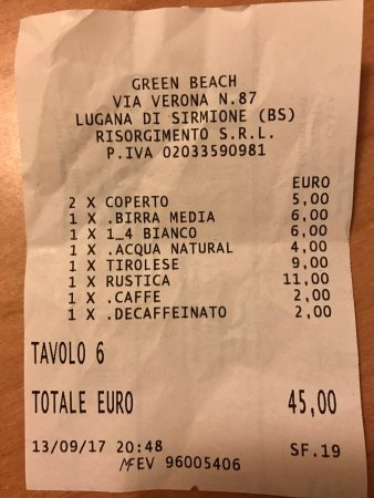 Green Beach : Conto salato!