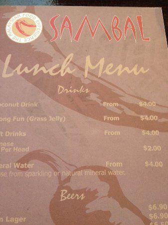 North Ryde, Australia: Lunch Menu