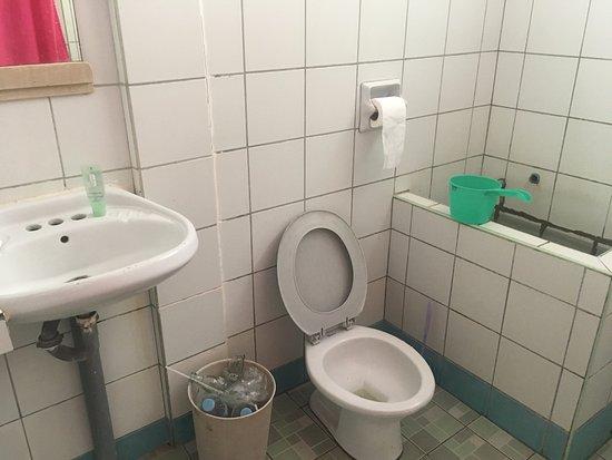 Liberty's Community Lodge : Baño sin agua corriente, agua tina verde, sucio