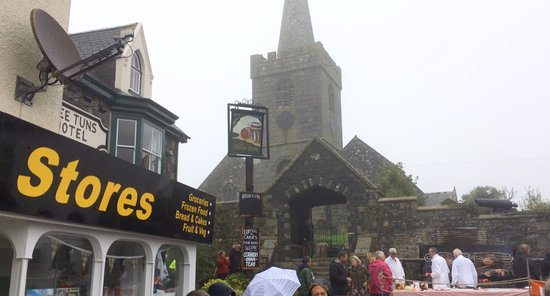 St Keverne, UK: The view from St. Keverne village square during the annual Hog Roast