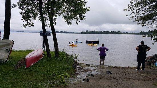 Lavigne, Canada : small beach area with swim platform