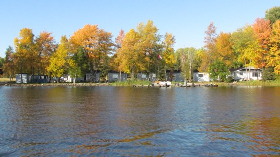 Lavigne, Canada : view of cottages from lake