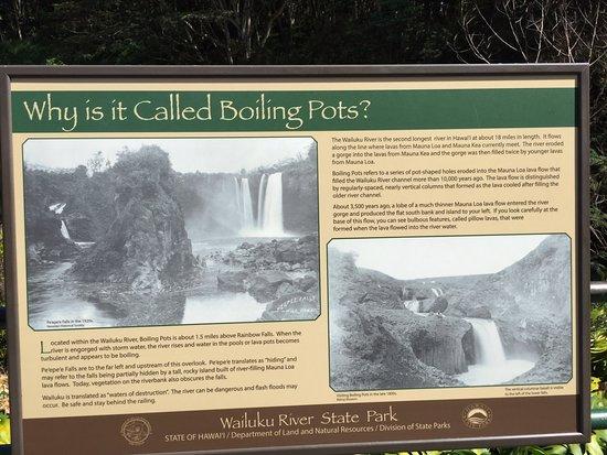 Wailuku River State Park: Descriptive sign at Boiling Pots