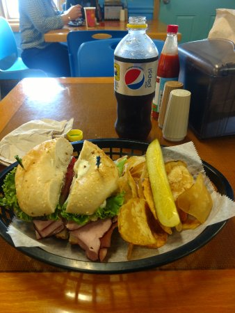 Surf Bagel And Deli : bagel sandwih with chips