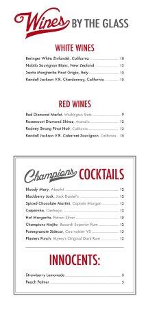 Champions Sports Bar & Restaurant: NEW MENU