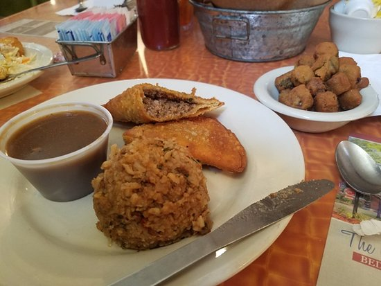 Natchitoches, LA: beef meat pie, dirty rice & fried okra