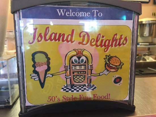Island Delights : Logo on napkin box at table!