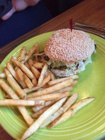Kill Devil Grill: A tuna steak burger with cilantro-lime mayonnaise and pineapple salsa. Yum!