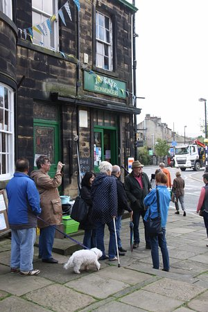 Huddersfield, UK: Chatting with others in the queue