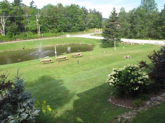North Star Lodge: Looking down on the grounds and lake just outside our unit #211