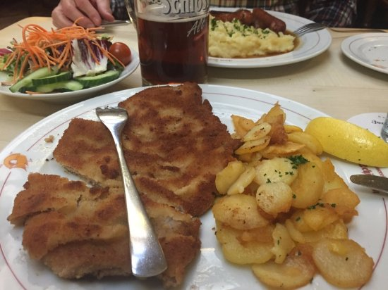 big portion of delicious schnitzel with potato salad yum picture of zum schiffchen. Black Bedroom Furniture Sets. Home Design Ideas