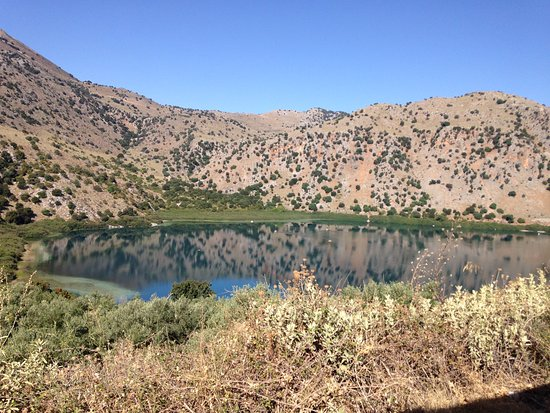 Kournas, Greece: The lake from the train as it ascended the valley