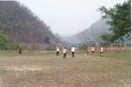 Gorkha, Nepal: playing soccer on the huge field.