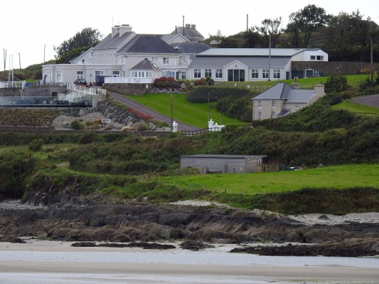 View from across the bay looking at Dunmore House Hotel