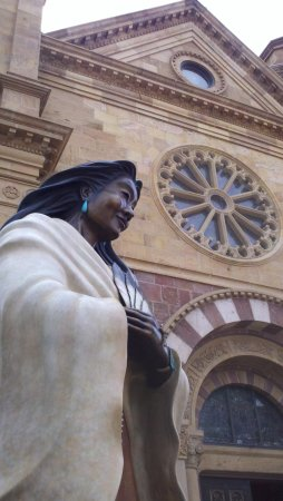 Santa Fe, NM: Native American with a Beatific Smile for visitors