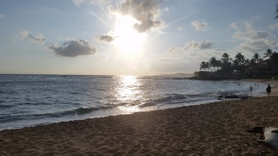 Poipu Beach Park: We didn't get a crazy colorful sunset, but it was nice