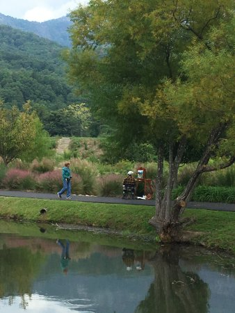 Fellow artist painting along the walking trail at Lake Lure