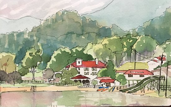 Lake Lure, Carolina del Norte: Quick watercolor sketch painted from the gazebo at Morse Park.