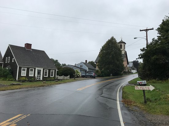 The main street in Round Pond on a wet day