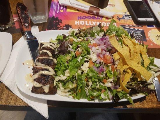 Winkler, Canada: 6 oz flat iron grilled steak salad