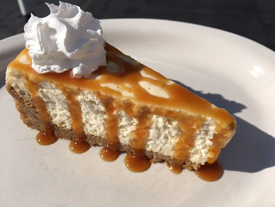 Battle Lake, MN: Homemade Cheesecake with Caramel Sauce at the Boathouse