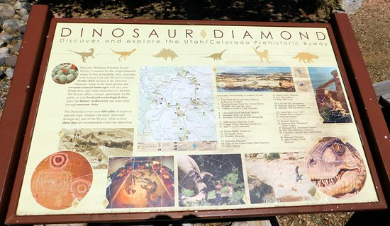 Informational sign about the Dinosaur Diamond Scenic Byway - the south side of the visitor cente