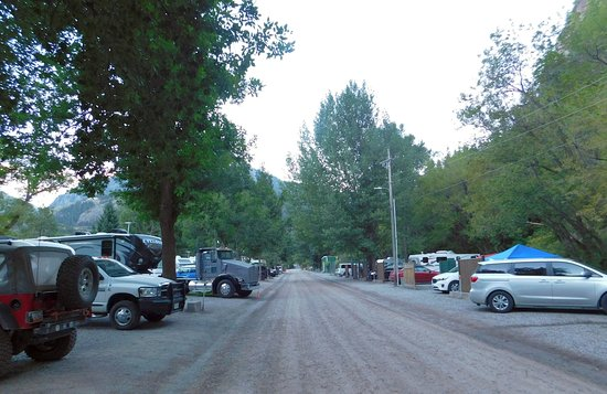 4J+1+1 RV Park: Looking south along Oak Street, camping on both sides.