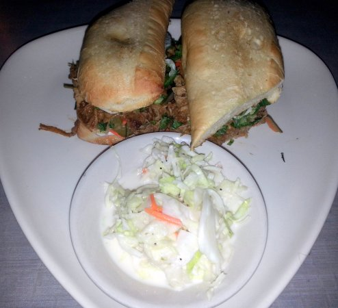 Mount Prospect, IL: Banh Mi sandwich with pulled pork & a side of cole slaw