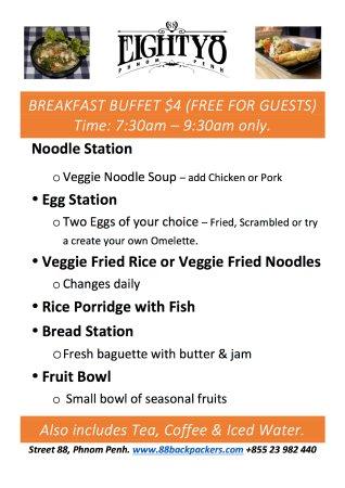 Eighty8 Backpackers: New Breakfast Buffet!