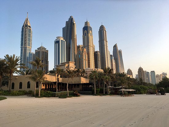 The Palace at One&Only Royal Mirage Dubai: Looking back from the beach to the marina.