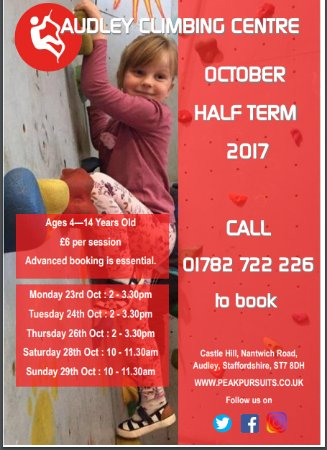 Our Half Term Events 23-29th October at Audley Climbing Centre