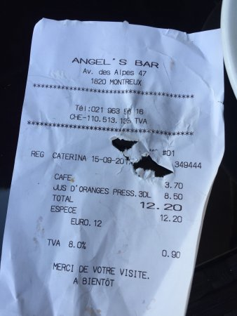 Angel's Bar: Chf8.5 for an orange juice what a rip off. With a view of a street.