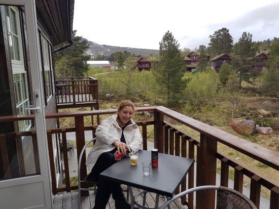 Hovden, Norvège : en el balcon del apartamento