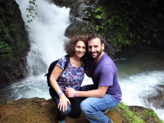 Quepos, Costa Rica: with my mom by a waterfall