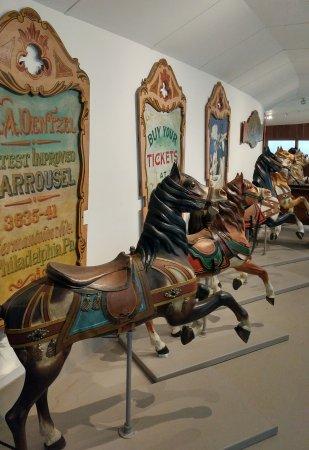 Shelburne Museum: Carousel horses in the circus barn.