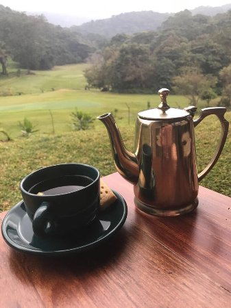 Nyanga, Zimbabwe: Morning tea served in a silver tea pot...