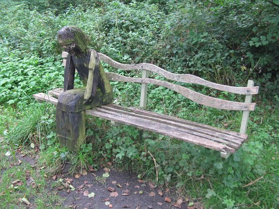 Devon, UK: Artwork bench near Watergate Halt