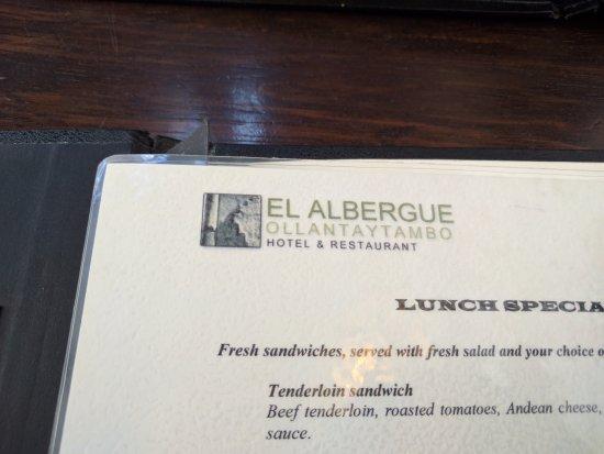 El Albergue Restaurant: Menu