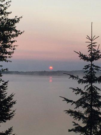Presque Isle, WI: Sunrise from the Sunfish cabin.