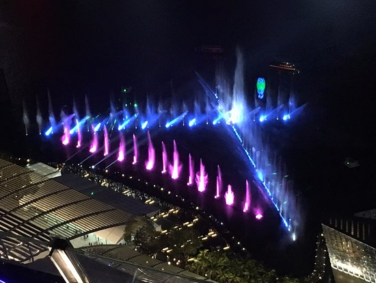 view of the spectra light and water show from the observation deck