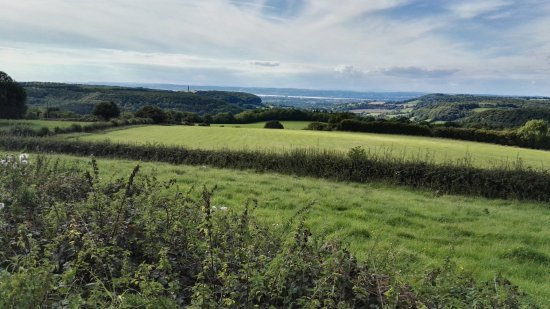 Wotton-under-Edge, UK: View from Cotswold Edge to the Severn Estuary and Wales
