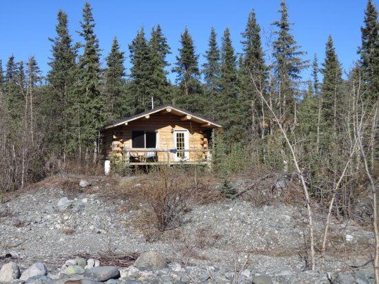 Paxson, AK: A view of our cabin from the river