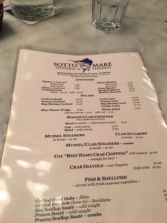 Sotto Mare Oysteria & Seafood: Part of the menu -- simple and easy