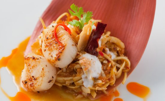 Storrington, UK: Seared scallops and banana blossom salad